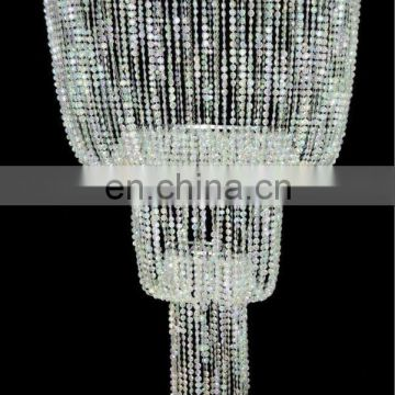 3 Tiered Faceted Acrylic Beaded Chandelier with Super Long Tassels on the bottom