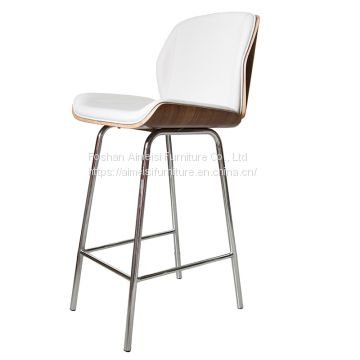 modern leather cushion wood shell high leg bar chair for pub