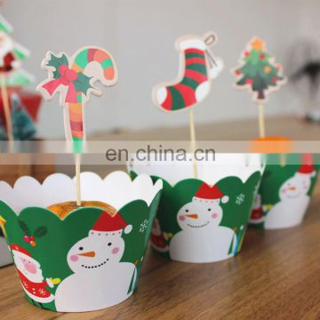 santa claus cupcake case christmas toppers set cakecup wrapper