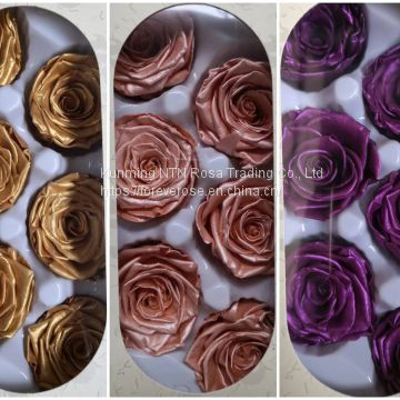 Preseved Metallic Pink Gold Purple rose flowers for Flower Gift Box
