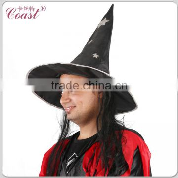 cheap black with hair attached halloween witch hat