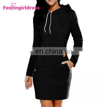 2017 Stylish Winter Bodycon Dress Long Sleeve Sweater Hoodie Dress Womens