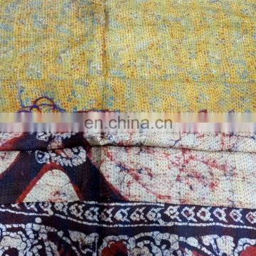Pure Silk Stole Handmade Indian Vintage Kantha Work Women Wrap Neck Dupatta Silk