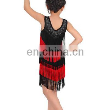 Hot drill black and red tassel ballroom children kids latin dance costume dress ET-024