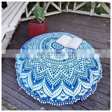 30'' Ombre Mandala Tapestry Round Cushion Cover Indian Handmade Pouf Cover Throw Cotton Pillow Cases SSTH54