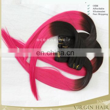 Factory wholesale no shedding no tangle virgin remy two tone hair,ombre pink hair