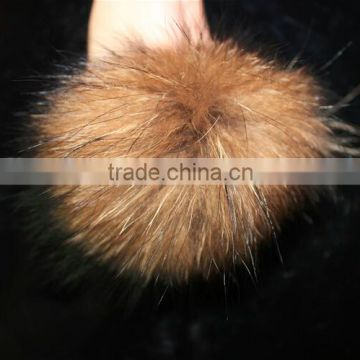 Raccoon Soft Ball Raccoon Fur Balls&Fur Pom Poms 13cm For Children Beanie Hat And Caps