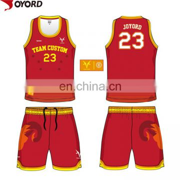 china custom sublimation color blue red yellow basketball jersey uniforms design