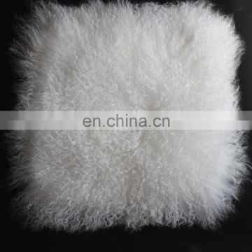 18 Inch Square Tibet Fur White Fuzzy Pillow Cover Curly Soft Mongolian Fur Lumbar Pillow