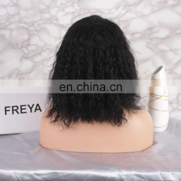 2018 hot selling bob curly elastic band brazilian hair glueless full lace wig