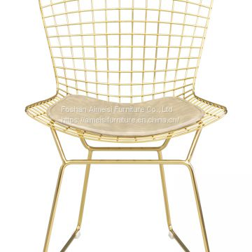 Modern Golden Wire Side Backrest Mesh Dinning lounge cafe Chairs
