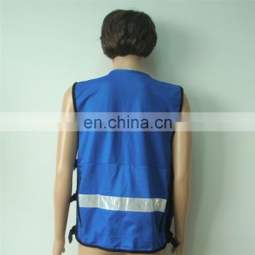 security protection roadway safety poly cotton blue pockets design new style hot sale EU rescue vest