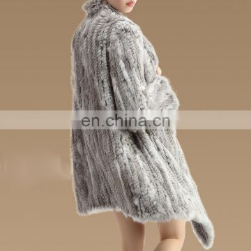 Classical design lady fashion fur coat knitting rabbit fur overcoat