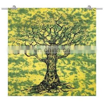 Single size bed sheet tree of life design green color