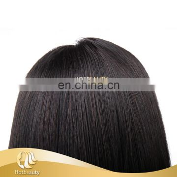 Virgin human hair wig natural black straight wholesale