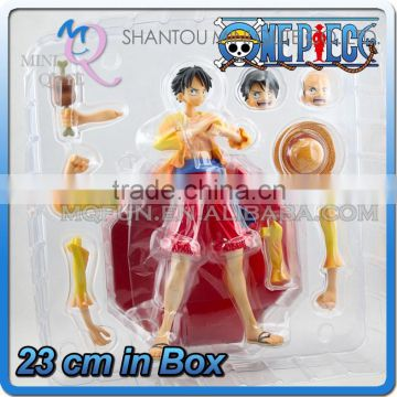 MINI QUTE 23 cm japanese anime Pirates one piece action figure assemble Monkey D Luffy brinquedos boys in box NO.MQ 072