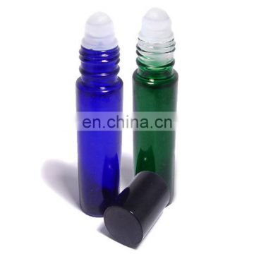 Top custom little glass bottles 1/3 oz roll on perfume bottle blue color 6ml mould glass perfume bottle roller ball plastic
