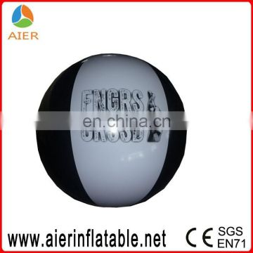 White and black 0.78' PVC inflatable beach ball