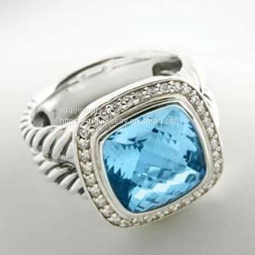 Sterling Silver Jewelry 11mm Blue Topaz Albion Ring(R-070)