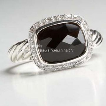 Sterling Silver Jewelry 8x10mm Black Onyx Noblesse Ring(R-037)