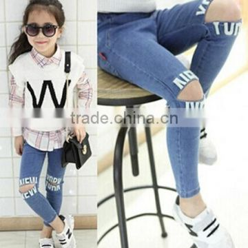 2015 New style! Little kids modern and fashion skinny denim jean wholesale kids girl sexy jean pants free shipping (ulik-J002)