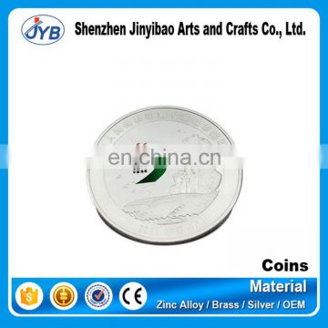 custom made colored silver company logo coin with cheap price