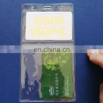 clear soft vinyl vertical shape double pocket card holder size at 10*18cm