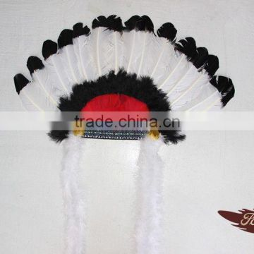 Fukang Wholesale Feather Suppliers And Feather Indian Headdress With Turkey Feather For Party Decorations
