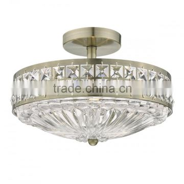 Small size silver semi flush mount crystal chandelier