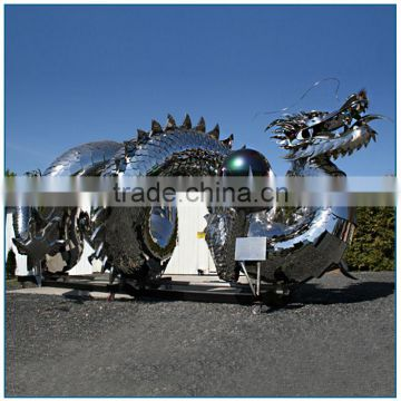 Large Stainless Steel Dragon Sculpture of Holding Ball for Outdoor Decoration
