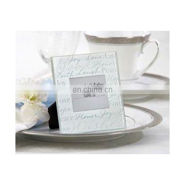 """Good Wishes"" Glass Photo Frame/Place Card Holder"