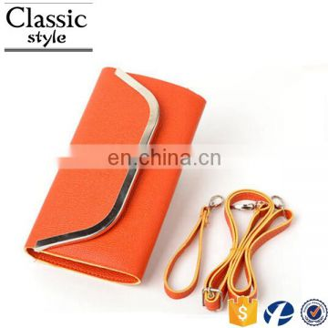 CR fast delivery small fancy pu surface inlaid iron border with long belt green envelope wallet rubber bag