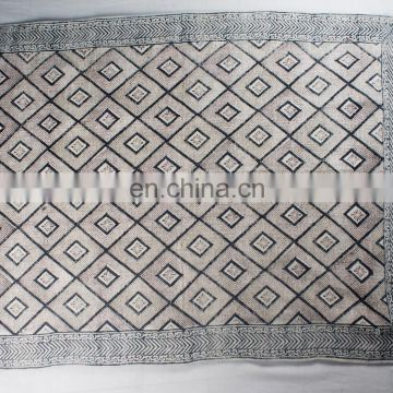 Indian handmade cotton carpets rugs hand block print indian traditional art dhurrie rag rug