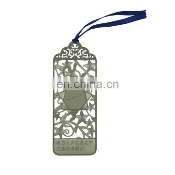 custom zinc alloy silver hollow design electronic dictionary bookmark with ribbon