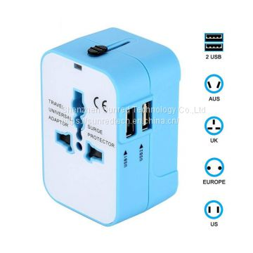 2018 Coorporate Gift Universal Travel Adapter with US UK EU AUS Plug Adaptor ,2.1A Dual USB Port