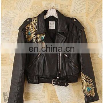 Women's Faux Leather zip closure Long sleeve Bolero Imitation Leather Jacket bomerJacket Blazer with peacock feathers print