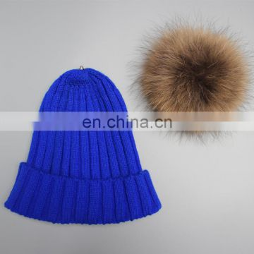 Pom poms hats for men women girl fashion hats big raccoon fur ball stripe hats
