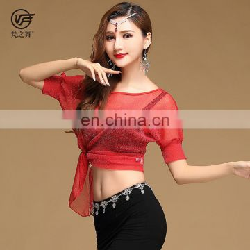 S-3106 Sexy shiny net cloth belly dance top clothes