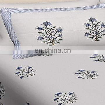 100% Cotton Indian Rajasthani Jaipuri Handmade Design Luxury Double Bed Sheet with 2 pillow covers