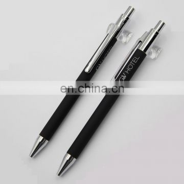 twist classical nice gloss black metal barrel ball point pen with gold clip and nose