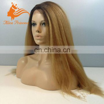 Italian Yaki Human Hair Full Lace Wig Omre #27 Color Virgin Peruvian Honey Blonde Hair Wigs