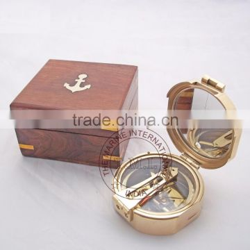 "BRASS BRUNTON COMPASS 3"" WITH WOODEN BOX ~ NAUTICAL BRASS COMPASS WITH BOX"