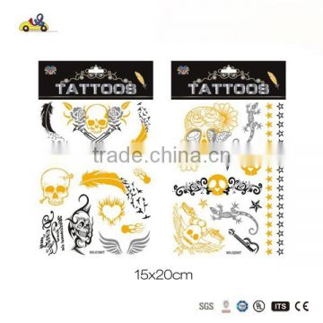 2015 Popular temporary glitter tattoo sticker, flash tattoo gold