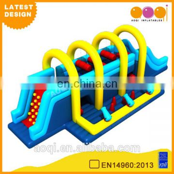 2015 AOQI latest design long inflatable obstacle course for kids playing for sale