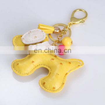 Honey dog Shape Bag Pendant Leather Animal Keychain with tassel