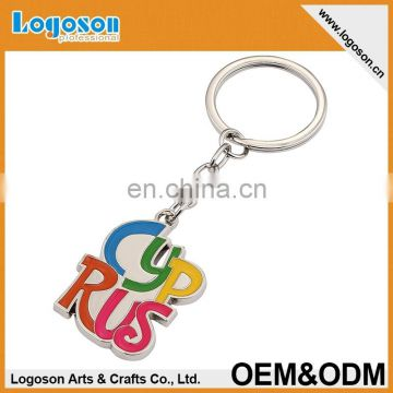 Colorful enamel alphabet custom metal key chain