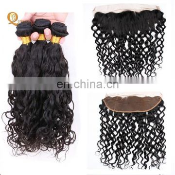 Malaysian Hair Water Wave Weave and Frontal Bundles With Lace Frontals Ear To Ear