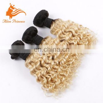 100% Unprocessed Top Fashion Best Quality Curly Human Blonde Hair Bundles With Lace Closure