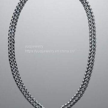 Sterling Silver Jewelry Pave Double Wheat Chain Necklace(N-035)