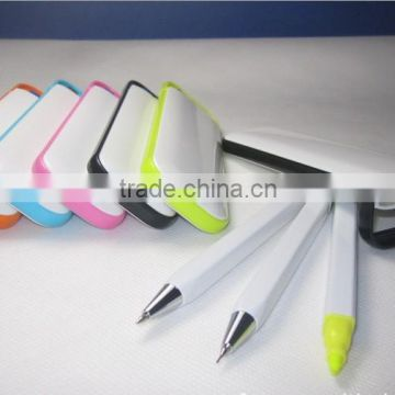 2 in one Highlighter Multi Colored solid highlighter ball pen